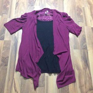 Women's XL Purple Layered Blouse Top