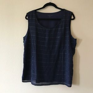 Navy blue sequined shell