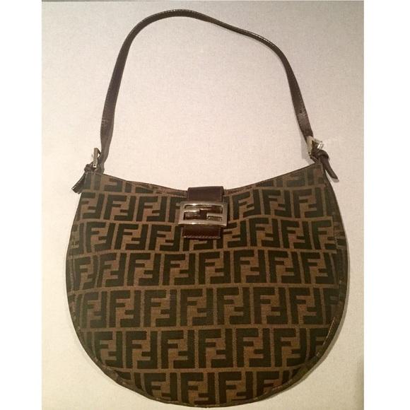 02b1999f1926 Fendi Handbags - Vintage Fendi Brown Zucca Logo Monogram Hobo Bag