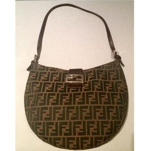 91711ac88556 Fendi Bags - Vintage Fendi Brown Zucca Logo Monogram Hobo Bag