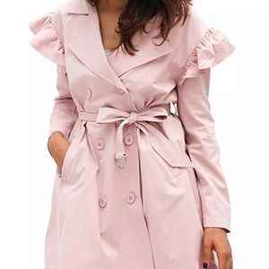 Pink Ruffle Detailed Trench Light Pink Jacket Coat