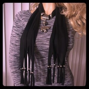 Accessories - Black and Silver Charm Scarf