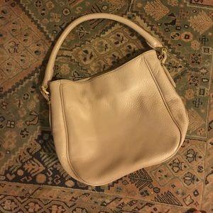 Cream leather handbag -- used twice!