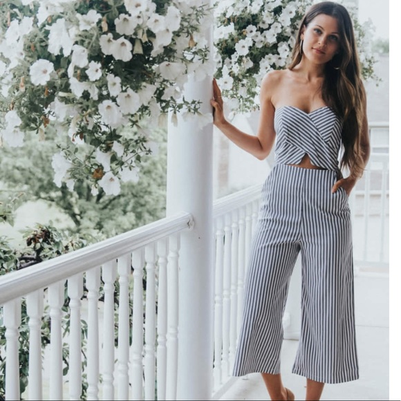0a2c8dcec302 Fashion Nova Pants - Blue Striped culotte jumpsuit with open front