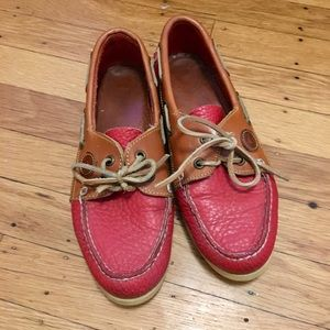 Dooney & Bourke red leather slip ons