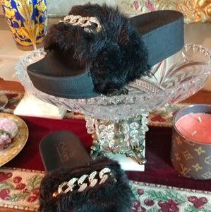 CATHERINE MALANDRINO Faux Fur Flats