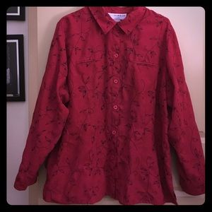 Red embroidered sag harbor Button up shirt - 20W
