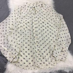J. Crew Factory Tops - J. Crew Blythe Silk Pocket Blouse in Gray & White