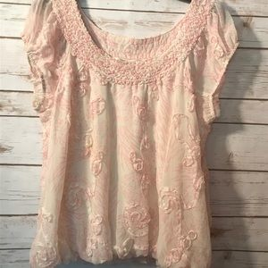 Studio M dainty Pink & White Top sz. L