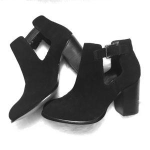 Black suede cutout boots