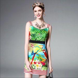 Anthropologie green bird print silk dress