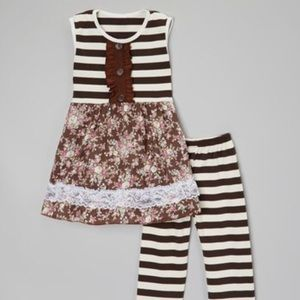 Brown Stripe Pants and Ruffle Top Toddler 2-3T