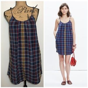 Madewell Tie-Strap Cami Shift Dress [Madras Plaid]