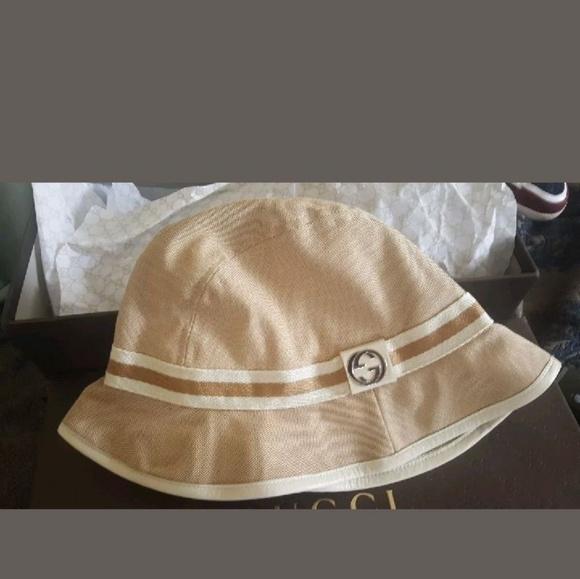 cba59fb16fc GUCCI Logo Fishermen bucket hat Tan Beige hat Sma
