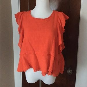 Anthropologie Maeve Ruffle Top M Petite