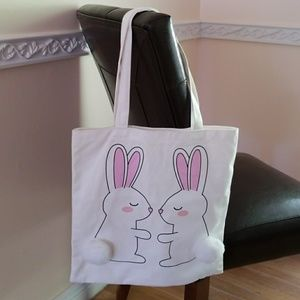 ^2^Adorable Rabbits with Ball Tails Tote Bag