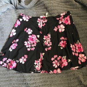 Floral button up skirt.