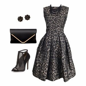 Taylor Leopard Pouf Party Dress
