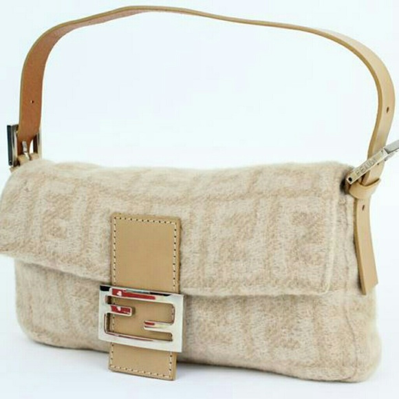 Fendi Handbags - Fendi Wool Zucca Baguette 16ft915 Shoulder Bag ba1e057a8895a