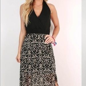 Dresses & Skirts - Halter top dress with black skirt and maxi overlay