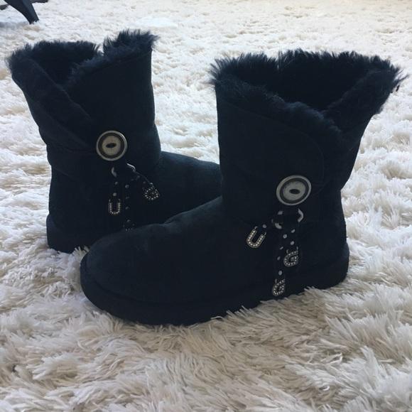 5e4ef0c92ea AUTH ugg Australia AZALEA CHARM black boots sz 7