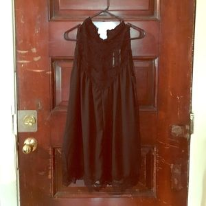 Black Sheer Dress with Lace Collar