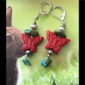 Jewelry - Cinnabar and Turquoise Butterfly Earrings