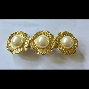 Vintage pearl gold hair barrette clip
