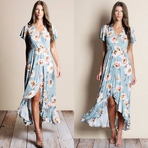 Blue Floral Faux Wrap Maxi Dress