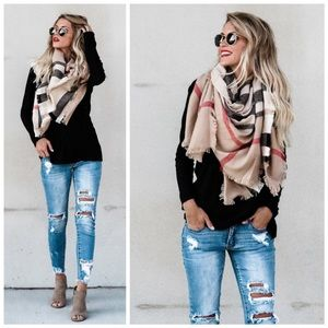*RESTOCKED* New Taupe plaid scarf