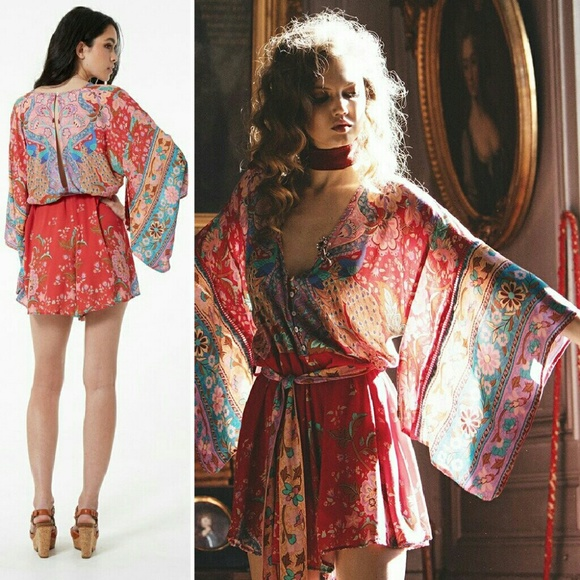 Spell & The Gypsy Collective Pants - New spell lotus romper kimono ruby playsuit red S