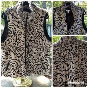 Coldwater Creek Faux Fur Vest – Black & Grey, XL