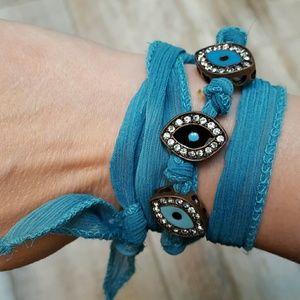 Jewelry - Turquoise evil eye wrap bracelet