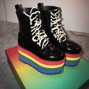 Dolls Kill Shoes - DOLLS KILL  CURRENT MOOD RAINBOW STACKED BOOT