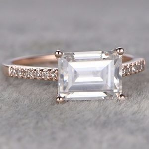 Jewelry - 14k Rose Gold 6x8mm Emerald cut Engagement Ring