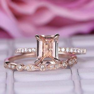 14k Rose Gold 1.75ct Emerald cut Engagement Ring