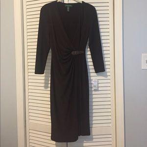 Ralph Lauren chocolate brown faux wrap dress NWT