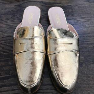 Catherine Malandrino gold mules, flats, slides