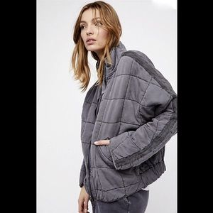Free People gray Oversize Slouchy Quilted Jacket