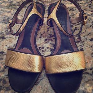 Marni gold sneak skin sandals