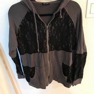 Torrid size 0 (12 equiv) zip up sweatshirt