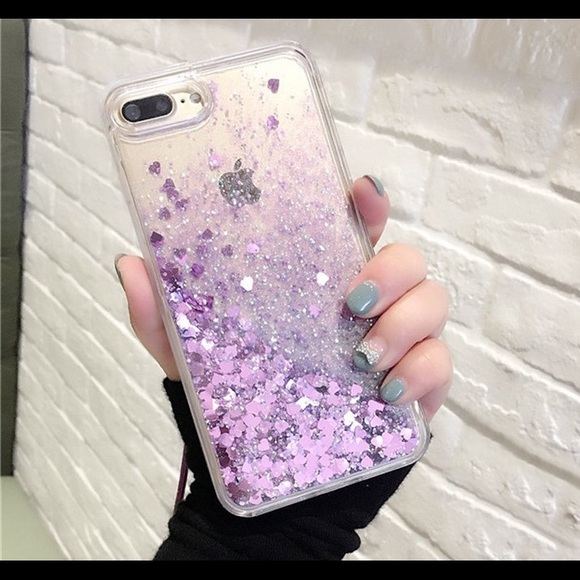 low priced 46572 6254e iPhone 7 Plus Waterfall case Glitter Hearts Purple