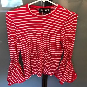 Style Mafia Bell Sleeve Top- Stripe Red and White