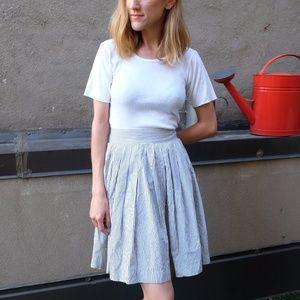Vintage Pleated Blue/White Stripe High Waist Skirt