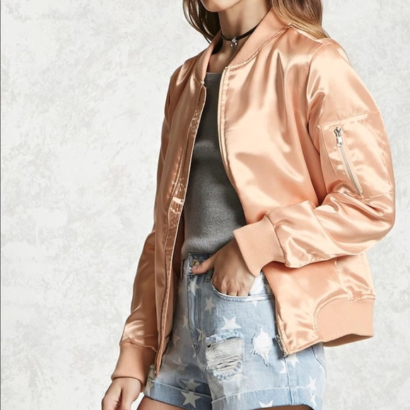 Satin Bomber Jacket color Apricot (blush color) M