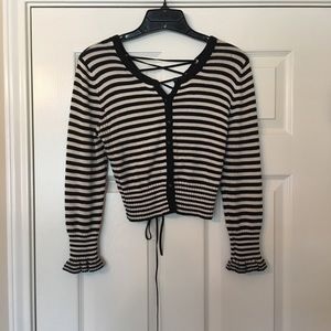 Betsey Johnson Striped Button/Lace Up Sweater - M