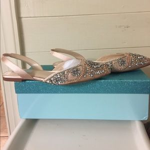 Blue by Betsey Johnson Molly Rhinestone Slingback Dress Flats