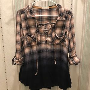 Altar'd State Lace Up Flannel Top