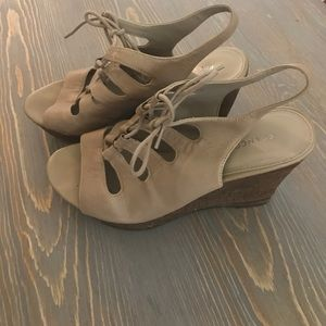 Franco Sarto Sunitha Lace Up Cork Wedges