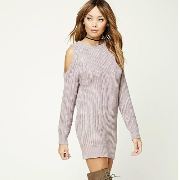 6f76889422a Forever 21 Dresses   Skirts - Forever 21 lilac open shoulder sweater dress M